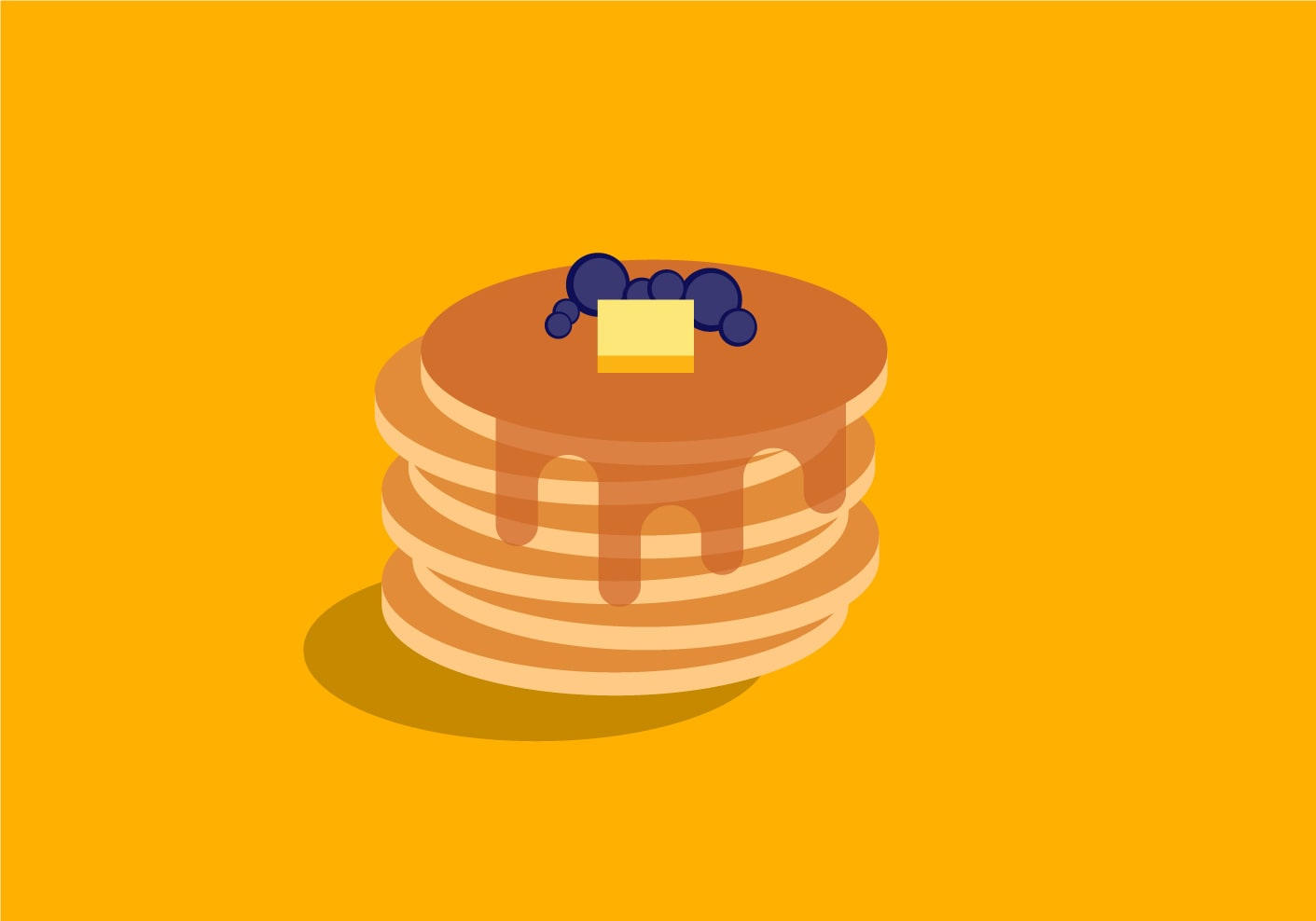 A stack of pancakes with syrup, blueberries and butter on top.