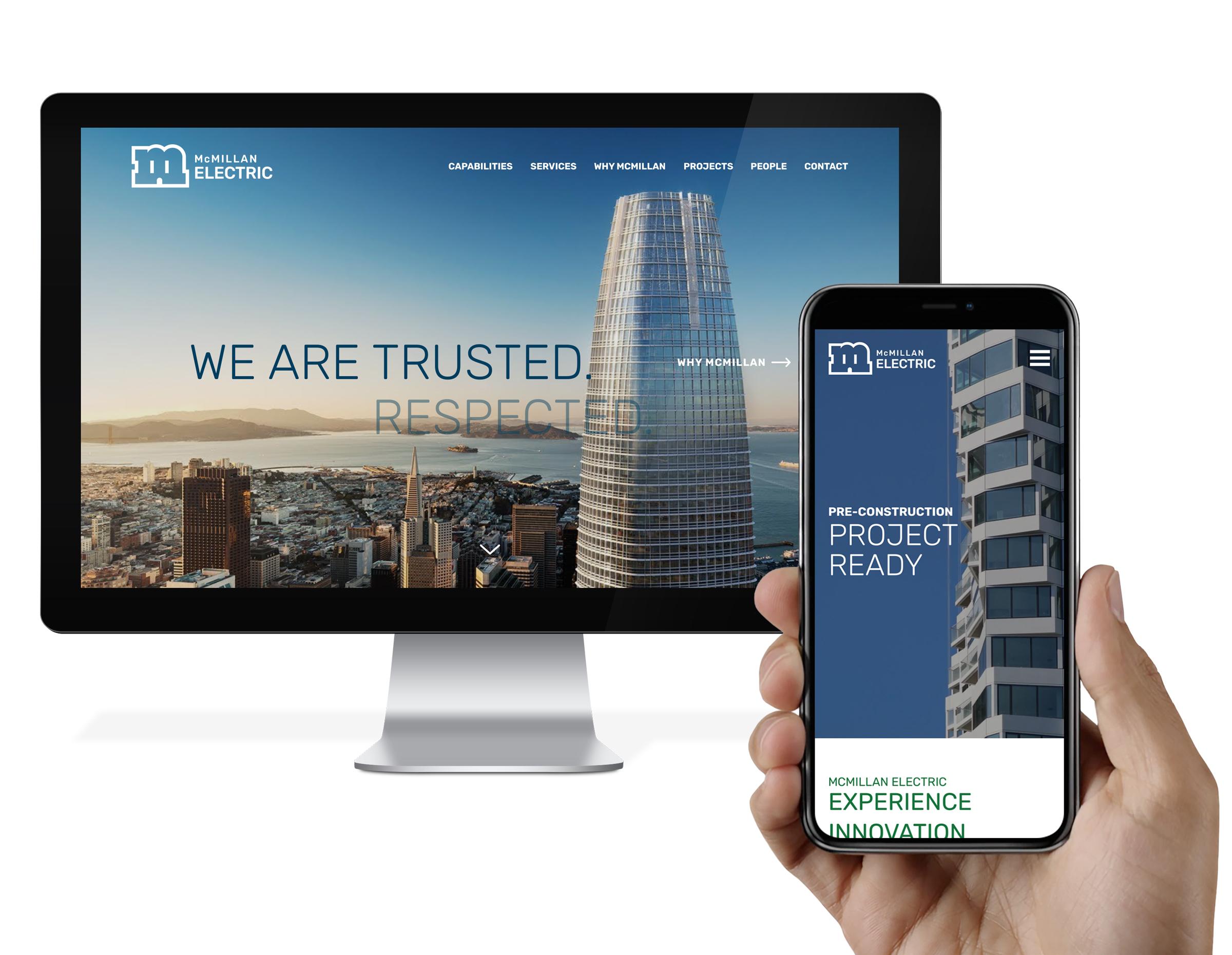 McMillan Electric website design responsive view